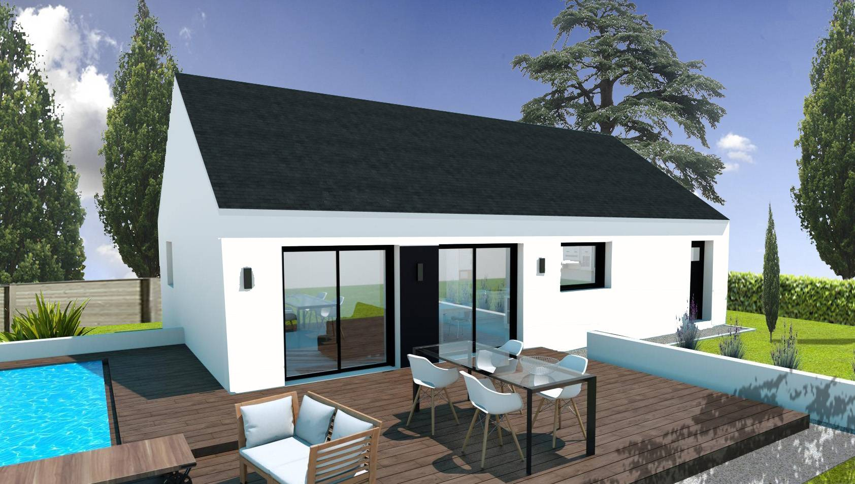 Construction maison plain pied pas cher finist re et morbihan for Maison contemporaine pas cher