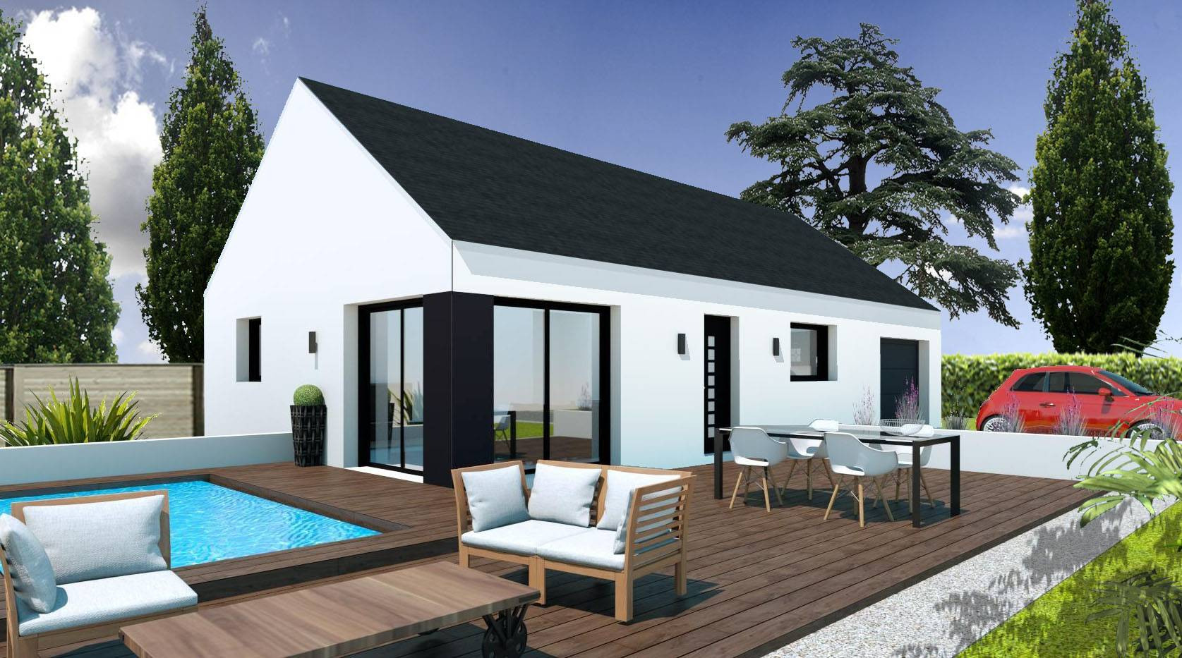 Construction maison plain pied pas cher finist re et morbihan for Maison plain pied prix construction